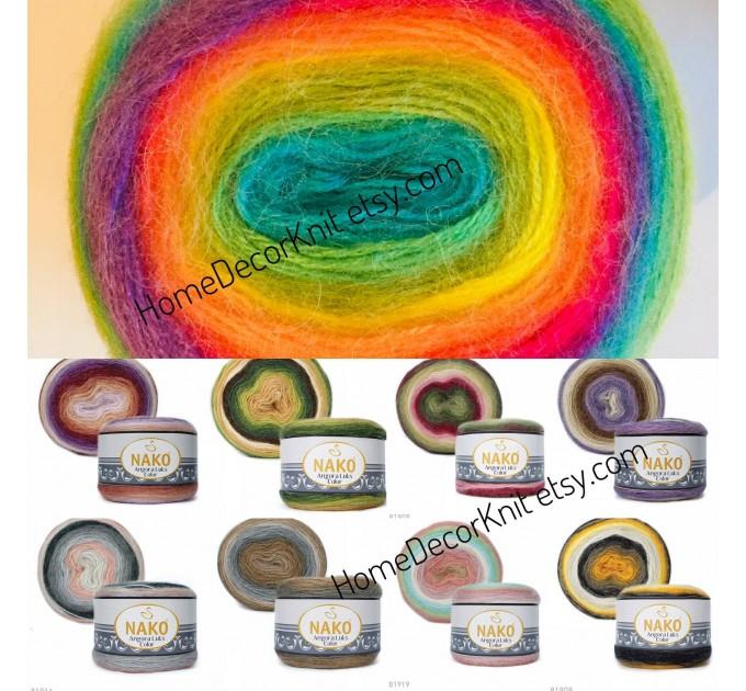 ANGORA LUKS COLOR Nako Gradient Yarn Rainbow  Mohair Multicolor Flowers Wool Batik Light Yarn Crochet Shawl Wraps Yarn Knitting Scarf Poncho  Yarn  7