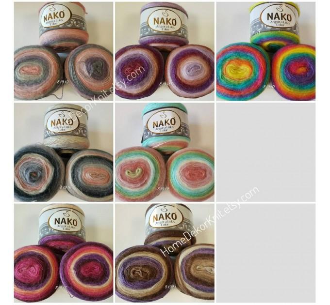 ANGORA LUKS COLOR Nako Gradient Yarn Rainbow  Mohair Multicolor Flowers Wool Batik Light Yarn Crochet Shawl Wraps Yarn Knitting Scarf Poncho  Yarn  8