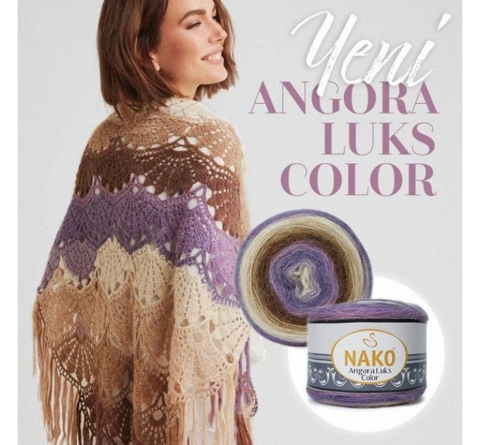 ANGORA LUKS COLOR Nako Gradient Yarn Rainbow  Mohair Multicolor Flowers Wool Batik Light Yarn Crochet Shawl Wraps Yarn Knitting Scarf Poncho  Yarn  9