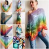 RAINBOW Crochet PONCHO Women Big Size Vintage Shawl Wraps Cotton Plus Size Clothing Granny Square Gay Pride Knit Triangle Bohemian Flower