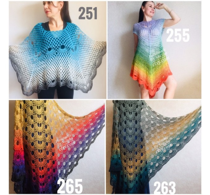 RAINBOW Crochet PONCHO Women Big Size Vintage Shawl Wraps Cotton Plus Size Clothing Granny Square Gay Pride Knit Triangle Bohemian Flower  Poncho  7