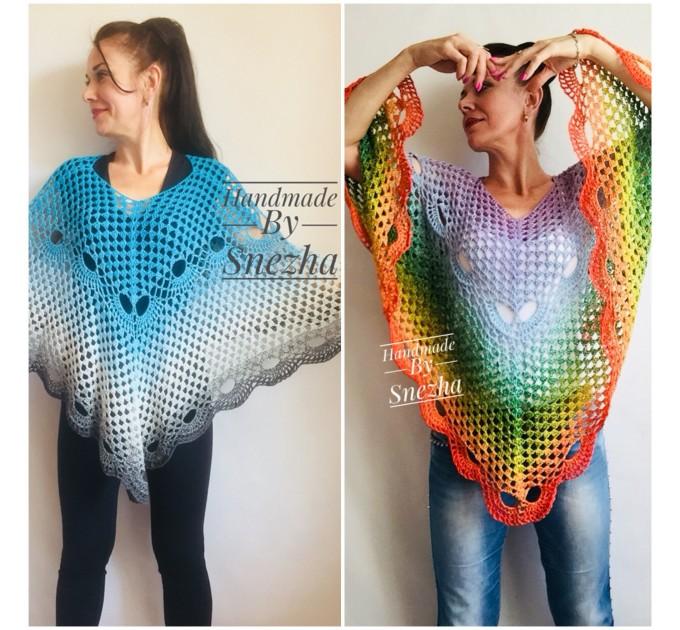 RAINBOW Crochet PONCHO Women Big Size Vintage Shawl Wraps Cotton Plus Size Clothing Granny Square Gay Pride Knit Triangle Bohemian Flower  Poncho  8