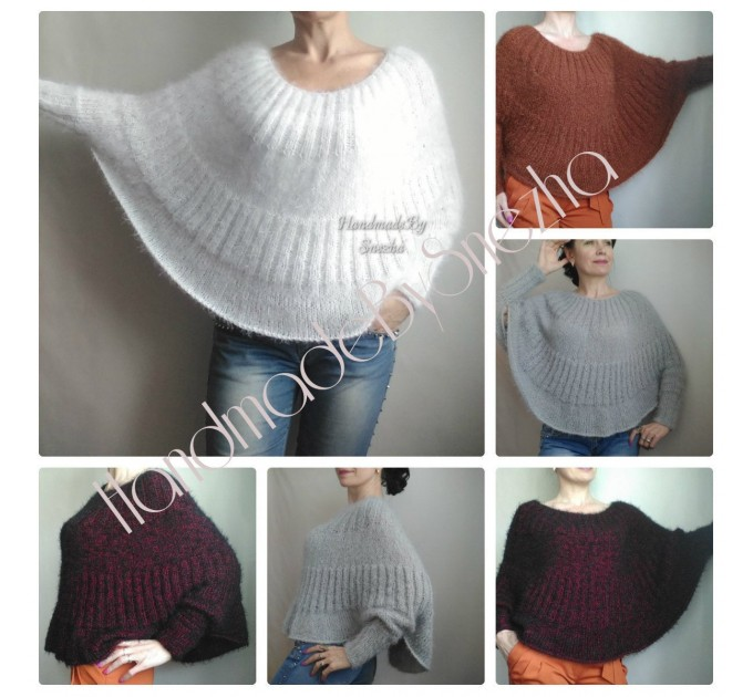 MOHAIR Sweater Hand Knit Poncho Woman WHITE Plus Size Knit Sweater Oversize Fuzzy Chunky Sweater Pullover Cable Sweater Knit Crochet Red  Faux Fur  3