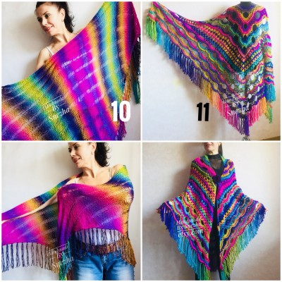 Rainbow Crochet Shawl Wraps With Fringe Triangular Colorful brooch Evening Hand Knitted Shawl Multicolor Shawl Lace Warm Wool Chic Shawl