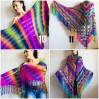 Rainbow Crochet Shawl Wraps With Fringe Triangular Colorful brooch Evening Hand Knitted Shawl Multicolor Shawl Lace Warm Wool Chic Shawl