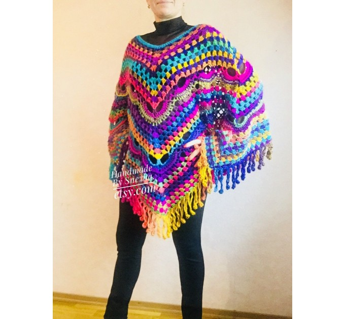 Rainbow Crochet Shawl Wraps With Fringe Triangular Colorful brooch Evening Hand Knitted Shawl Multicolor Shawl Lace Warm Wool Chic Shawl  Shawl / Wraps  10