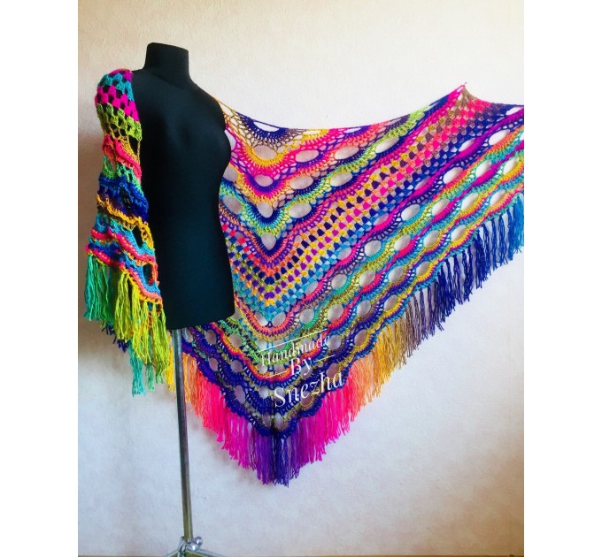 Rainbow Crochet Shawl Wraps With Fringe Triangular Colorful brooch Evening Hand Knitted Shawl Multicolor Shawl Lace Warm Wool Chic Shawl  Shawl / Wraps  4
