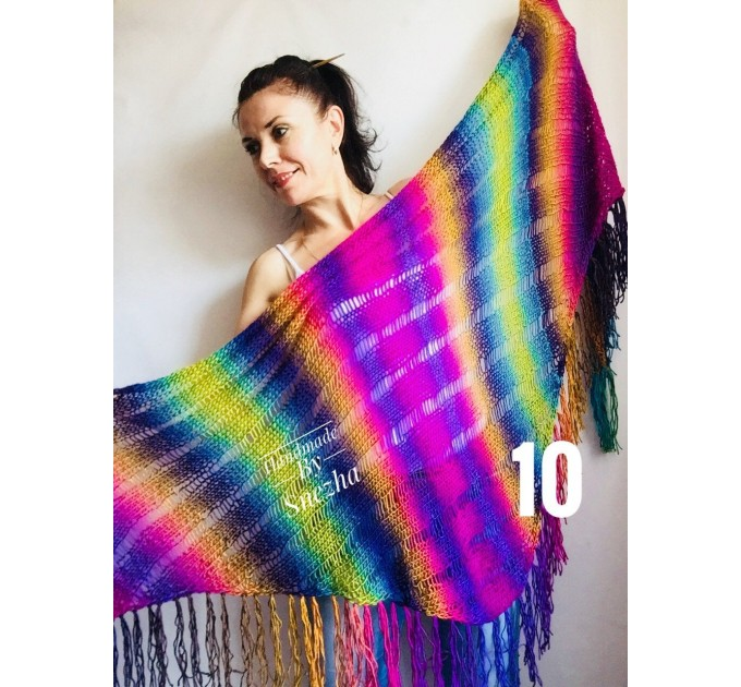 Rainbow Crochet Shawl Wraps With Fringe Triangular Colorful brooch Evening Hand Knitted Shawl Multicolor Shawl Lace Warm Wool Chic Shawl  Shawl / Wraps  5