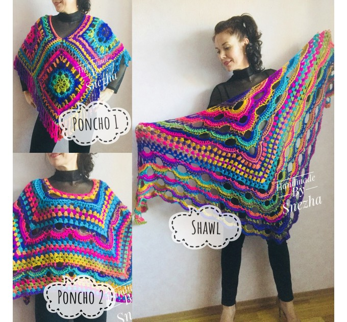 Rainbow Crochet Shawl Wraps With Fringe Triangular Colorful brooch Evening Hand Knitted Shawl Multicolor Shawl Lace Warm Wool Chic Shawl  Shawl / Wraps  6