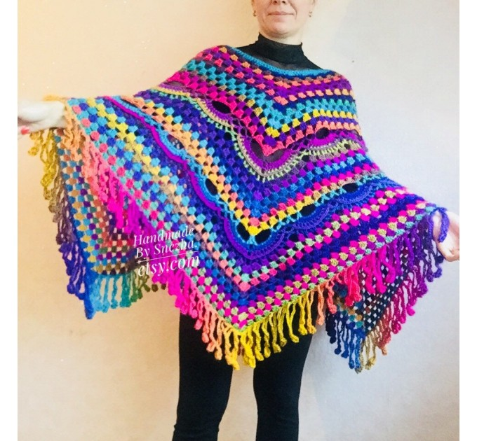 Rainbow Crochet Shawl Wraps With Fringe Triangular Colorful brooch Evening Hand Knitted Shawl Multicolor Shawl Lace Warm Wool Chic Shawl  Shawl / Wraps  7