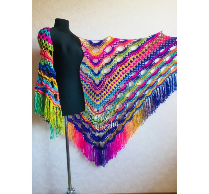 Rainbow Crochet Shawl Wraps With Fringe Triangular Colorful brooch Evening Hand Knitted Shawl Multicolor Shawl Lace Warm Wool Chic Shawl  Shawl / Wraps  8