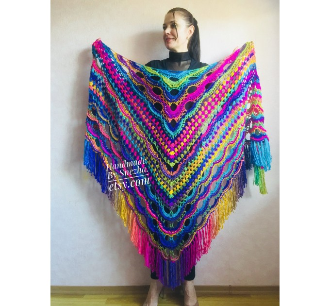 Rainbow Crochet Shawl Wraps With Fringe Triangular Colorful brooch Evening Hand Knitted Shawl Multicolor Shawl Lace Warm Wool Chic Shawl  Shawl / Wraps  9