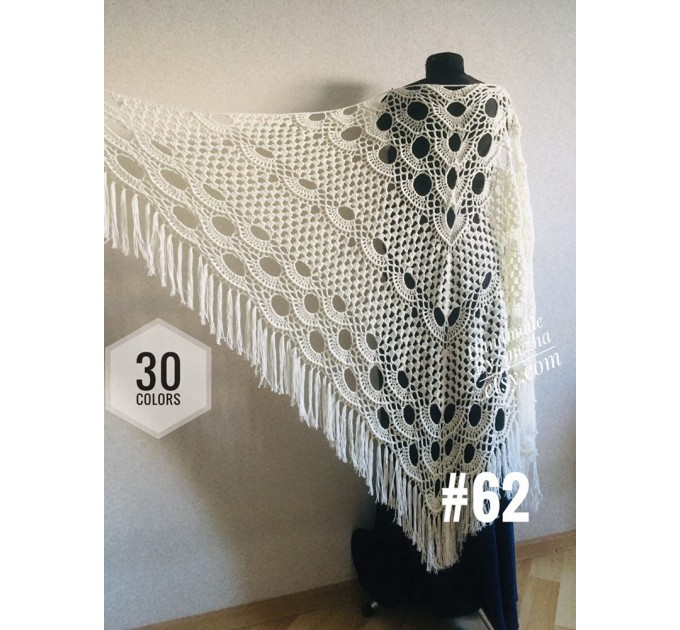 Crochet SHAWL Fringe Triangle White COTTON Granny Square Navy Blue Bridesmaid Wraps Custom Color Summer Lace Shawl Hand Knit Flower Black  Shawl / Wraps  6