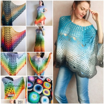 RAINBOW Crochet Poncho Women Shawl Big Size Vintage Wraps Cotton Hand Knit Oversized Clothing Granny Square Pride Shawl Triangle Bohemian