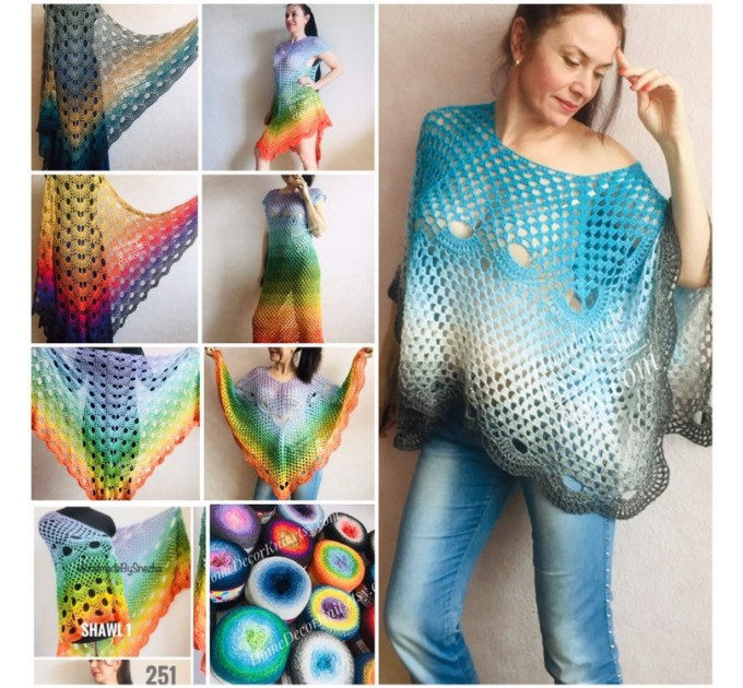 RAINBOW Crochet Poncho Women Shawl Big Size Vintage Wraps Cotton Hand Knit Oversized Clothing Granny Square Pride Shawl Triangle Bohemian  Poncho  1