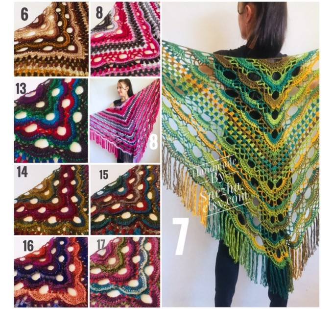 Green Crochet Shawl Wrap Boho Colorful Shawl Rainbow Shawl With Fringe Bohemian Multicolor Shawl Big Crochet Lace Triangle Knitted Shawl  Shawl / Wraps
