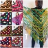 Green Crochet Shawl Wrap Boho Colorful Shawl Rainbow Shawl With Fringe Bohemian Multicolor Shawl Big Crochet Lace Triangle Knitted Shawl