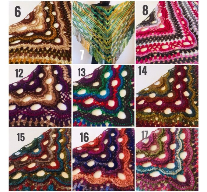 Green Crochet Shawl Wrap Boho Colorful Shawl Rainbow Shawl With Fringe Bohemian Multicolor Shawl Big Crochet Lace Triangle Knitted Shawl  Shawl / Wraps  8