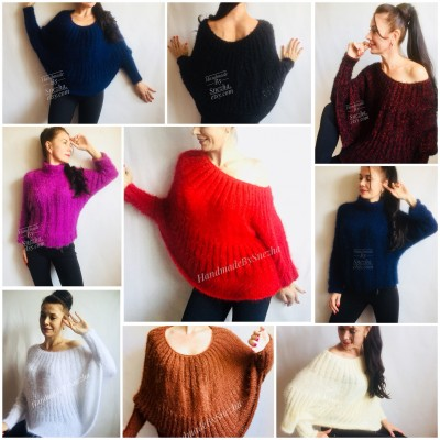 RED Mohair Sweater Hand Knit Poncho Sweater Sexy Loose Knit Sweater Beige Boho Elegant Brown Soft Sweater Chunky Black Wool Pastel Sweater