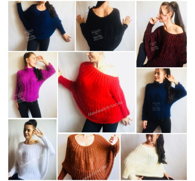 RED Mohair Sweater Hand Knit Poncho Sweater Sexy Loose Knit Sweater Beige Boho Elegant Brown Soft Sweater Chunky Black Wool Pastel Sweater  Sweater