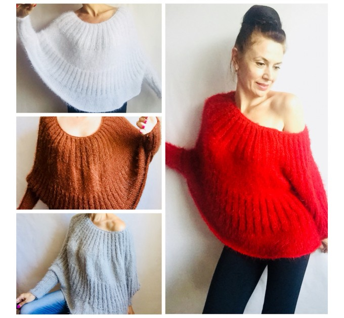RED Mohair Sweater Hand Knit Poncho Sweater Sexy Loose Knit Sweater Beige Boho Elegant Brown Soft Sweater Chunky Black Wool Pastel Sweater  Sweater  4
