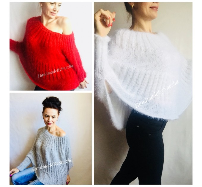 RED Mohair Sweater Hand Knit Poncho Sweater Sexy Loose Knit Sweater Beige Boho Elegant Brown Soft Sweater Chunky Black Wool Pastel Sweater  Sweater  5