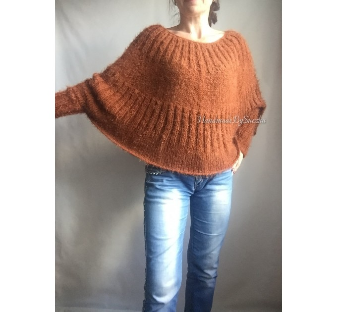 RED Mohair Sweater Hand Knit Poncho Sweater Sexy Loose Knit Sweater Beige Boho Elegant Brown Soft Sweater Chunky Black Wool Pastel Sweater  Sweater  7