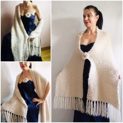 Wedding shawl Ivory bridesmaid faux fur Winter bridal knit wrap, Hand knit Long warm scarf, Beige Navy Blue Fuzzy rustic shawl