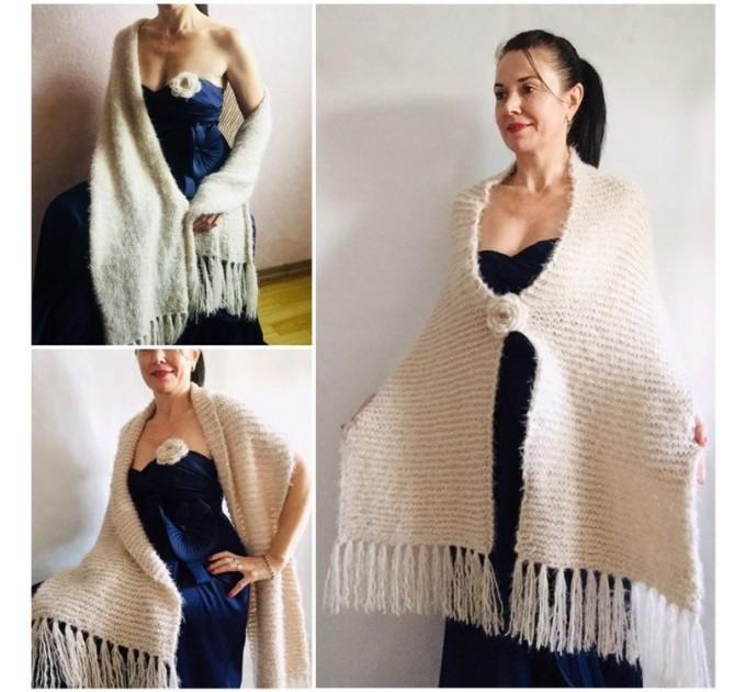 Wedding shawl Ivory bridesmaid faux fur Winter bridal knit wrap, Hand knit Long warm scarf, Beige Navy Blue Fuzzy rustic shawl  Shawl / Wraps