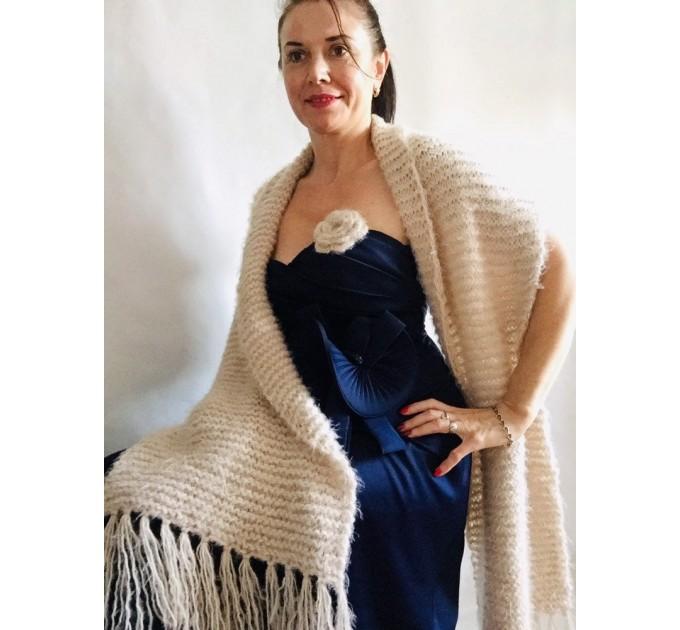 Wedding shawl Ivory bridesmaid faux fur Winter bridal knit wrap, Hand knit Long warm scarf, Beige Navy Blue Fuzzy rustic shawl  Shawl / Wraps  2