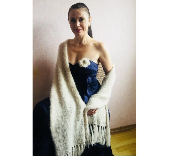 Wedding shawl Ivory bridesmaid faux fur Winter bridal knit wrap, Hand knit Long warm scarf, Beige Navy Blue Fuzzy rustic shawl  Shawl / Wraps  4