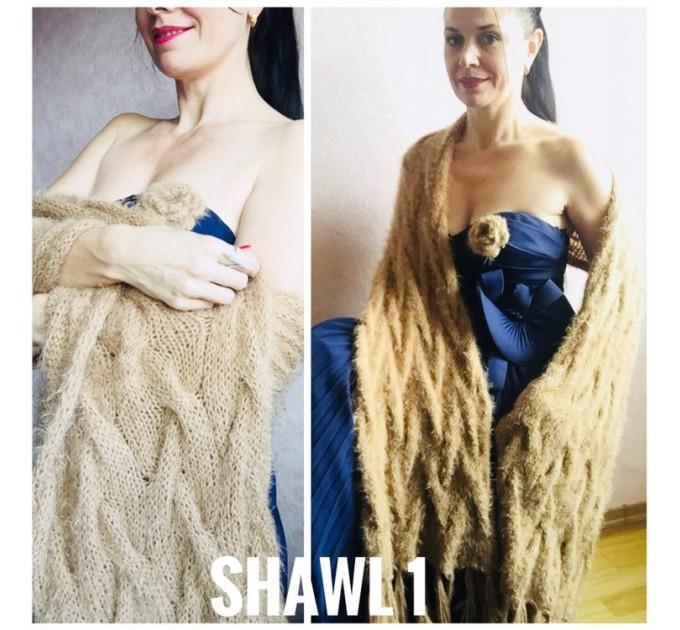 Wedding shawl Ivory bridesmaid faux fur Winter bridal knit wrap, Hand knit Long warm scarf, Beige Navy Blue Fuzzy rustic shawl  Shawl / Wraps  5