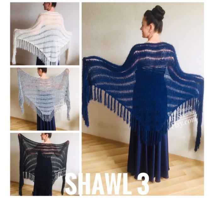 Wedding shawl Ivory bridesmaid faux fur Winter bridal knit wrap, Hand knit Long warm scarf, Beige Navy Blue Fuzzy rustic shawl  Shawl / Wraps  6