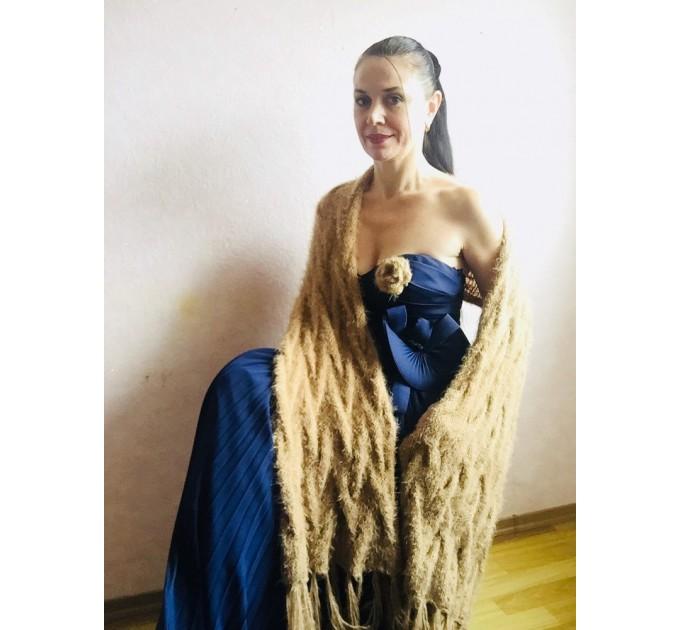 Wedding shawl Ivory bridesmaid faux fur Winter bridal knit wrap, Hand knit Long warm scarf, Beige Navy Blue Fuzzy rustic shawl  Shawl / Wraps  8