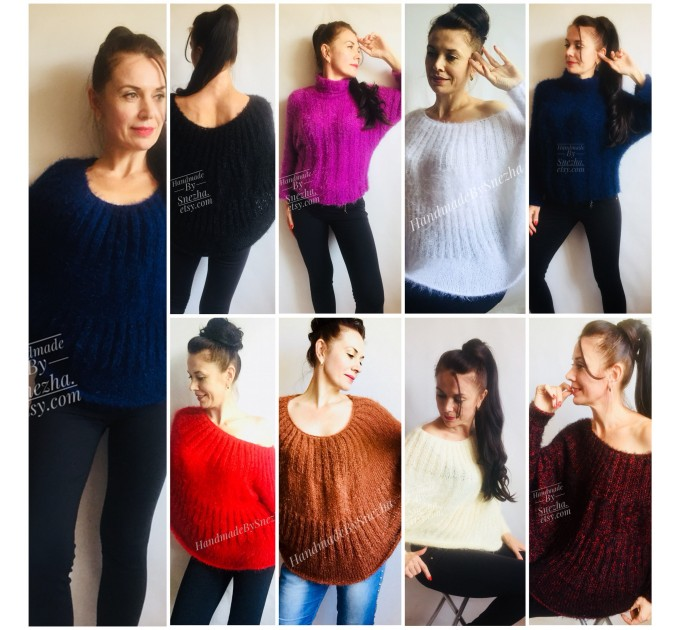 Hand Knit poncho sweater for women Knit Ponchos Mohair Wool poncho outfit, Ladies knitwear hand knitted, Boho clothing, Gift For Girlfriend  Sweater  3