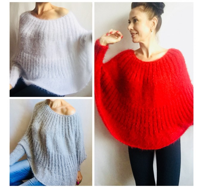 Hand Knit poncho sweater for women Knit Ponchos Mohair Wool poncho outfit, Ladies knitwear hand knitted, Boho clothing, Gift For Girlfriend  Sweater  7