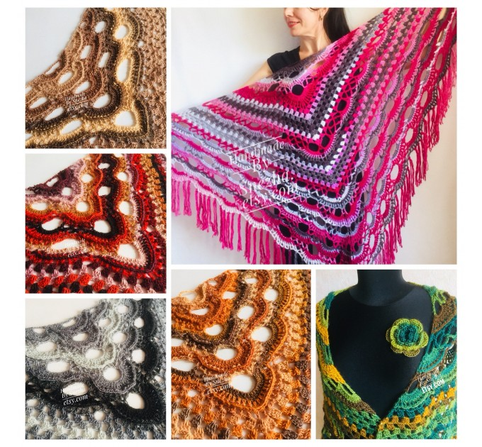 Orange Crochet Shawl Wrap Triangle With Fringe Gray Boho Shawl 20 Color Rainbow Multicolor Shawl Black Large Crochet Lace Knitted Shawl  Shawl / Wraps