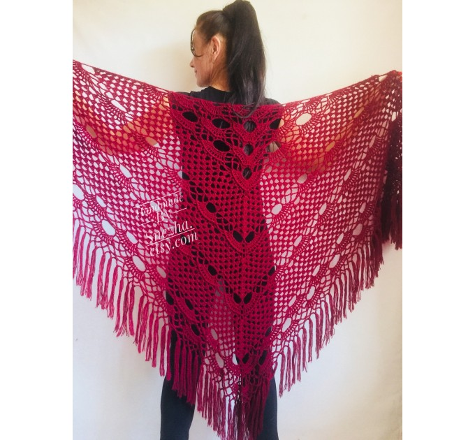 Burgundy crochet bridal shawl and wraps Crocher wool lace shawl angora Mohair wedding triangle shawl with fringe Bohemian Hand Knit Shawl  Shawl / Wraps