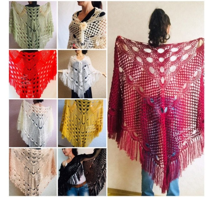 Burgundy crochet bridal shawl and wraps Crocher wool lace shawl angora Mohair wedding triangle shawl with fringe Bohemian Hand Knit Shawl  Shawl / Wraps  3