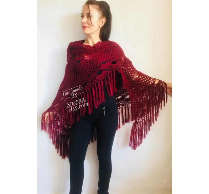 Burgundy crochet bridal shawl and wraps Crocher wool lace shawl angora Mohair wedding triangle shawl with fringe Bohemian Hand Knit Shawl  Shawl / Wraps  6