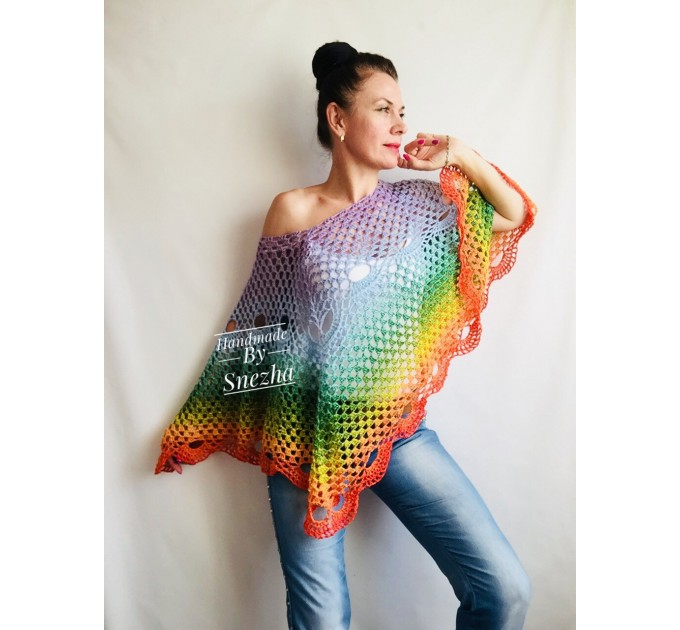 Crochet Rainbow Poncho, Big Size Vintage Festival shawl pin, Plus size Boho kimono Wraps Gift-for-her-women-mom-birthday-gift Beach cover up
