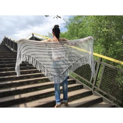 Wedding knit shawl Fringe Triangle scarf Gray Crochet shawl wrap Oversized Dark gray Mohair Wool shawl gift for Mom shawl