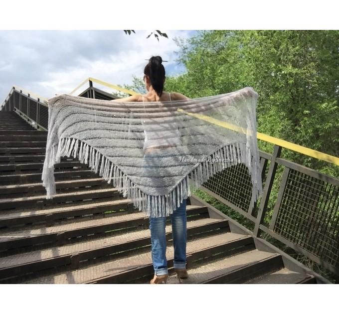 Wedding knit shawl Fringe Triangle scarf Gray Crochet shawl wrap Oversized Dark gray Mohair Wool shawl gift for Mom shawl  Shawl / Wraps