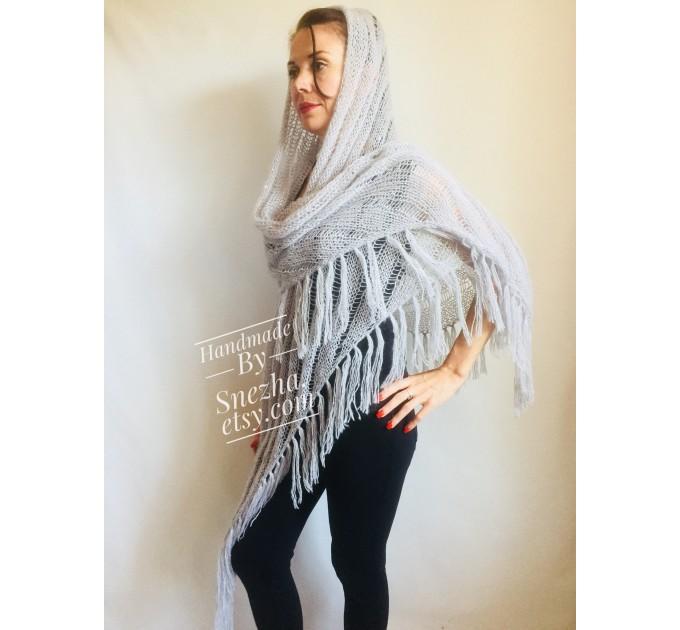Wedding knit shawl Fringe Triangle scarf Gray Crochet shawl wrap Oversized Dark gray Mohair Wool shawl gift for Mom shawl  Shawl / Wraps  2