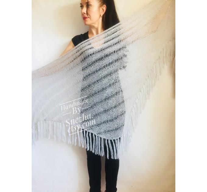 Wedding knit shawl Fringe Triangle scarf Gray Crochet shawl wrap Oversized Dark gray Mohair Wool shawl gift for Mom shawl  Shawl / Wraps  5