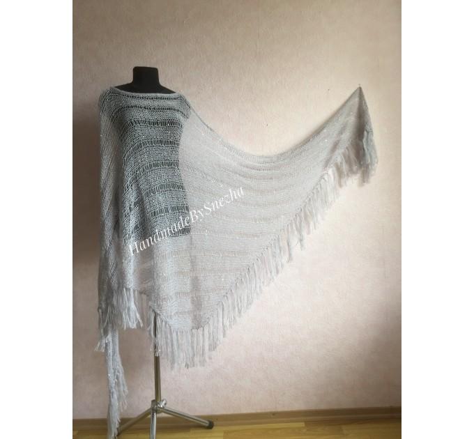 Wedding knit shawl Fringe Triangle scarf Gray Crochet shawl wrap Oversized Dark gray Mohair Wool shawl gift for Mom shawl  Shawl / Wraps  6
