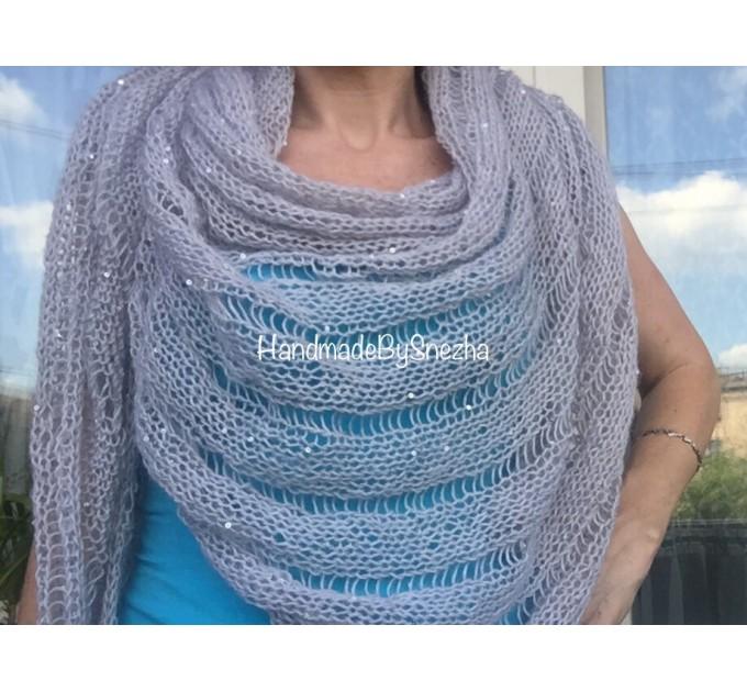 Wedding knit shawl Fringe Triangle scarf Gray Crochet shawl wrap Oversized Dark gray Mohair Wool shawl gift for Mom shawl  Shawl / Wraps  7