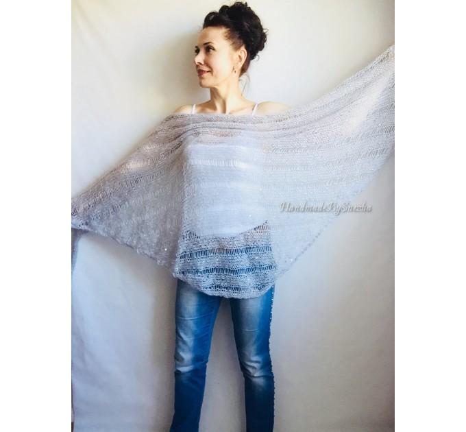 Wedding knit shawl Fringe Triangle scarf Gray Crochet shawl wrap Oversized Dark gray Mohair Wool shawl gift for Mom shawl  Shawl / Wraps  8