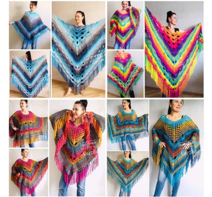 Rainbow Crochet Shawl Fringe Wraps OOAK Boho Lace Triangle Warm Shawl Mom Scarf Women Floral Hand Knit Shawl Large Big Crocheted  Shawl / Wraps