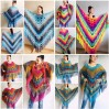 Rainbow Crochet Shawl Fringe Wraps OOAK Boho Lace Triangle Warm Shawl Mom Scarf Women Floral Hand Knit Shawl Large Big Crocheted